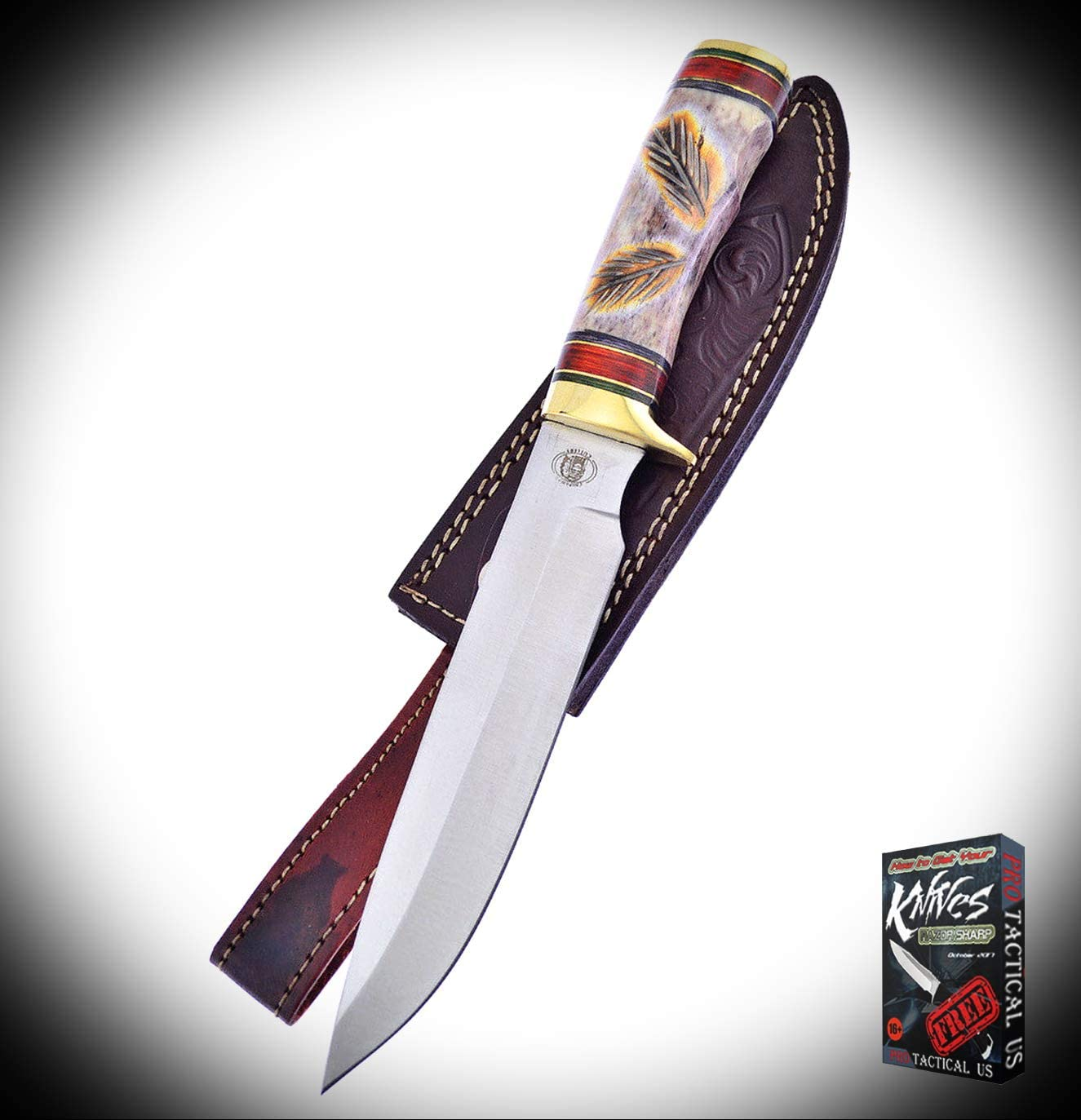 New Frost Red Plains Chief Bowie Chipaway Bone Handle Stainless Fixed ProTactical Elite Knife CWIN2210RT + Free eBook