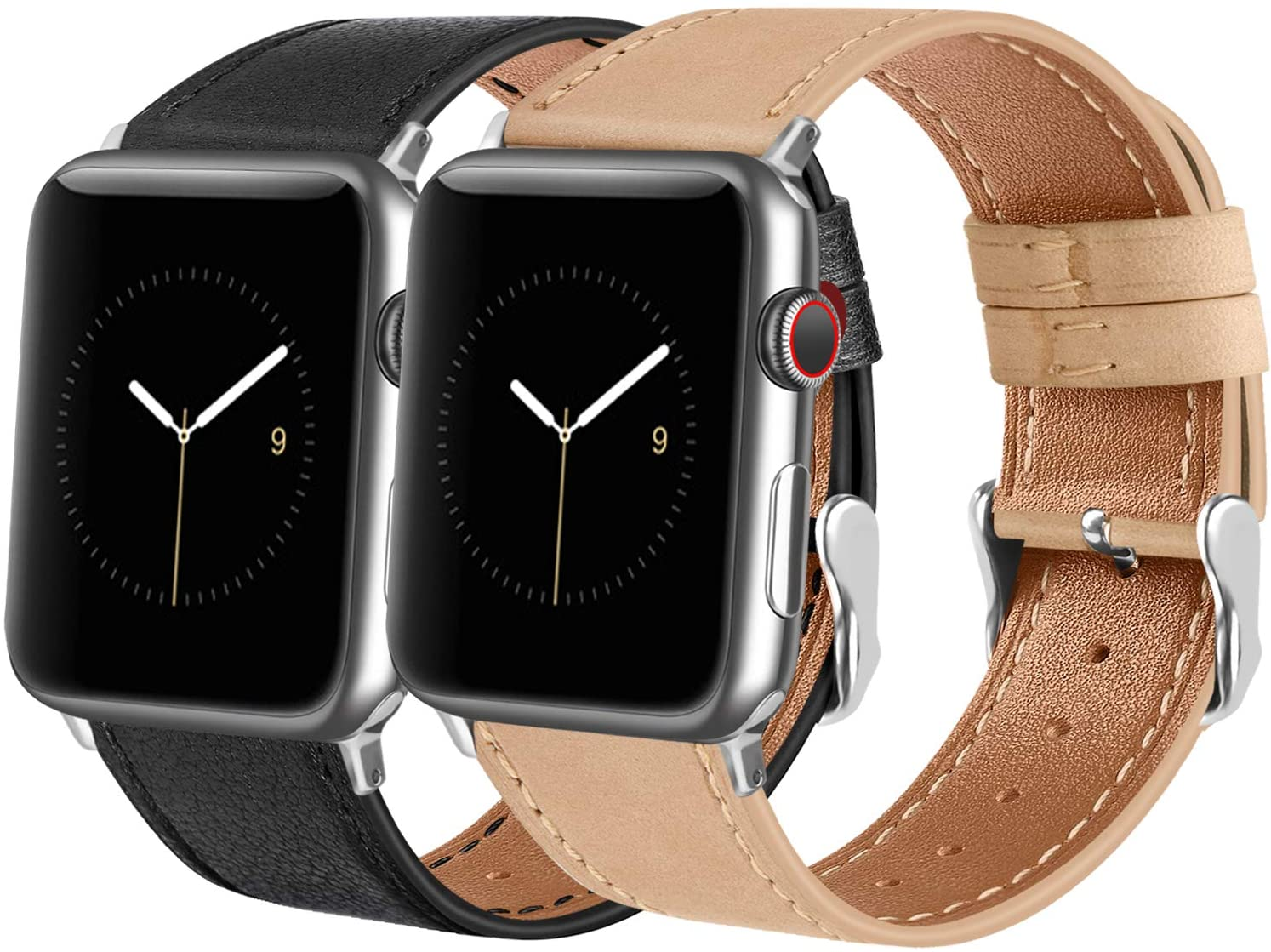 Tobfit Leather Bands Compatible with Apple Watch Band 38mm 40mm 42mm 44mm Women Men, Top Grain Leather Wristband, Black&Beige, 42mm/44mm