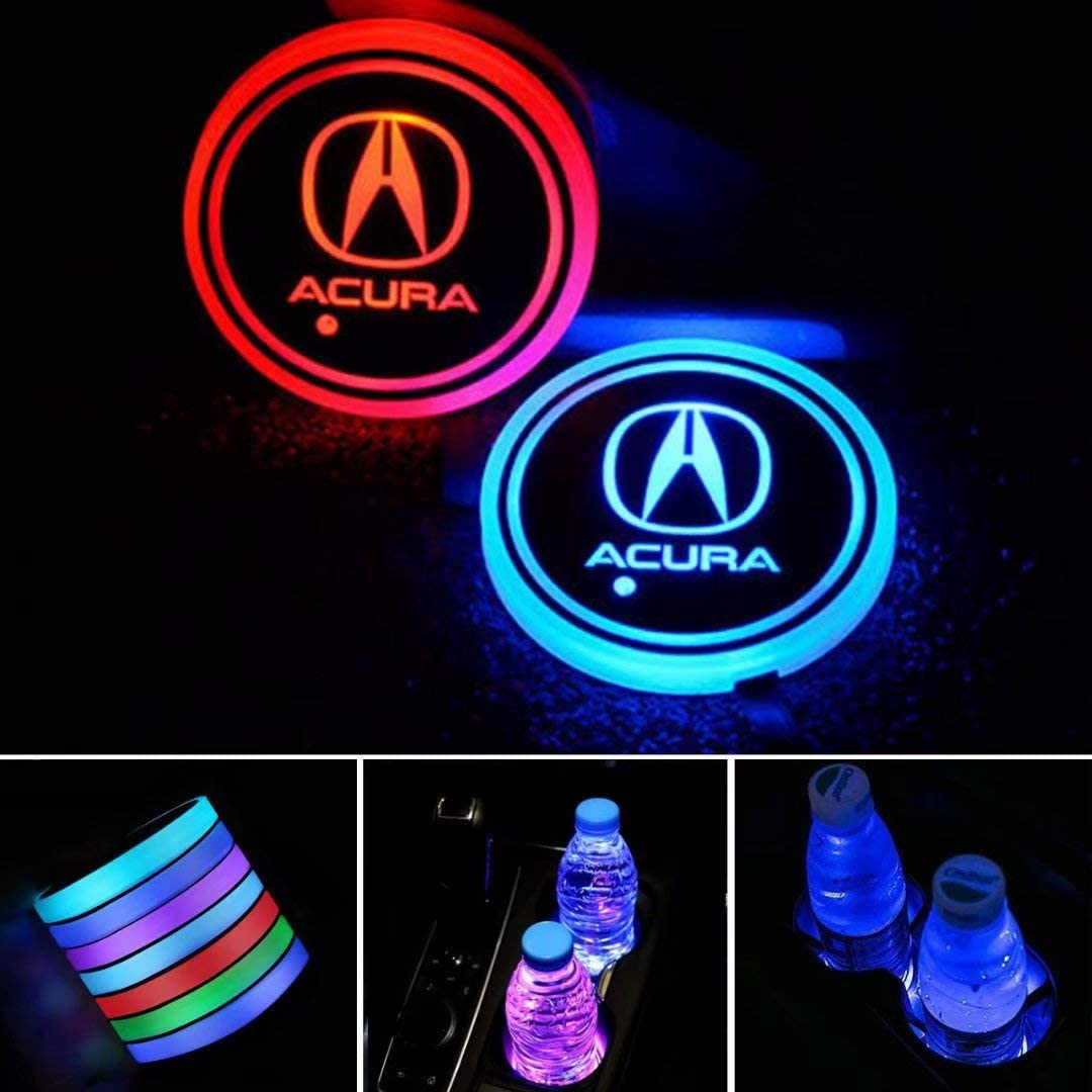 Auralight 2pcs LED Car Cup Holder Lights with Car Logo 7 Colors Changing USB Charging Mat Luminescent Cup Pad, LED Interior Atmosphere Lamp