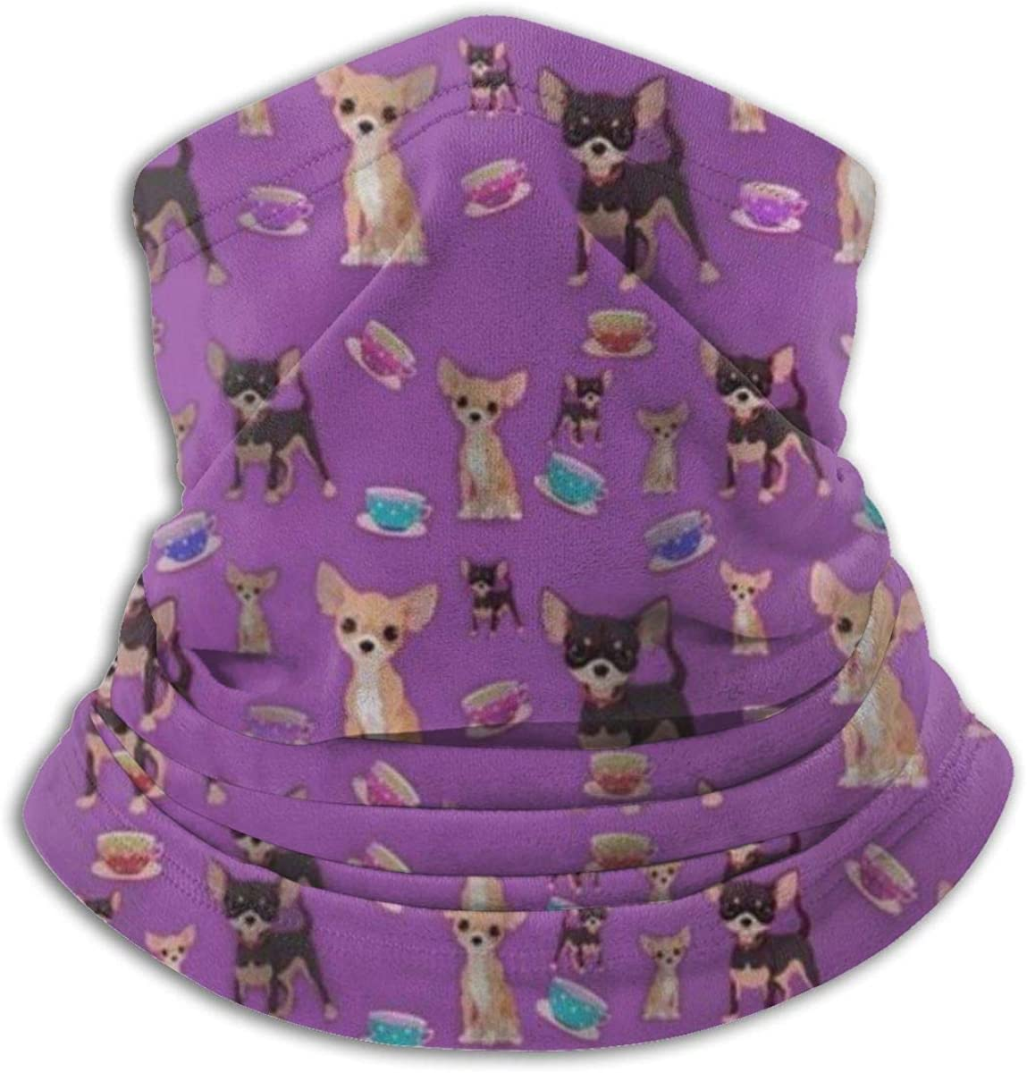 Cute Teacup Chihuahuas Beauty Seamless Face Mask Neck Gaiter Bandanas Multi-Functiona for Dust, Outdoors, Festivals, Sports Black