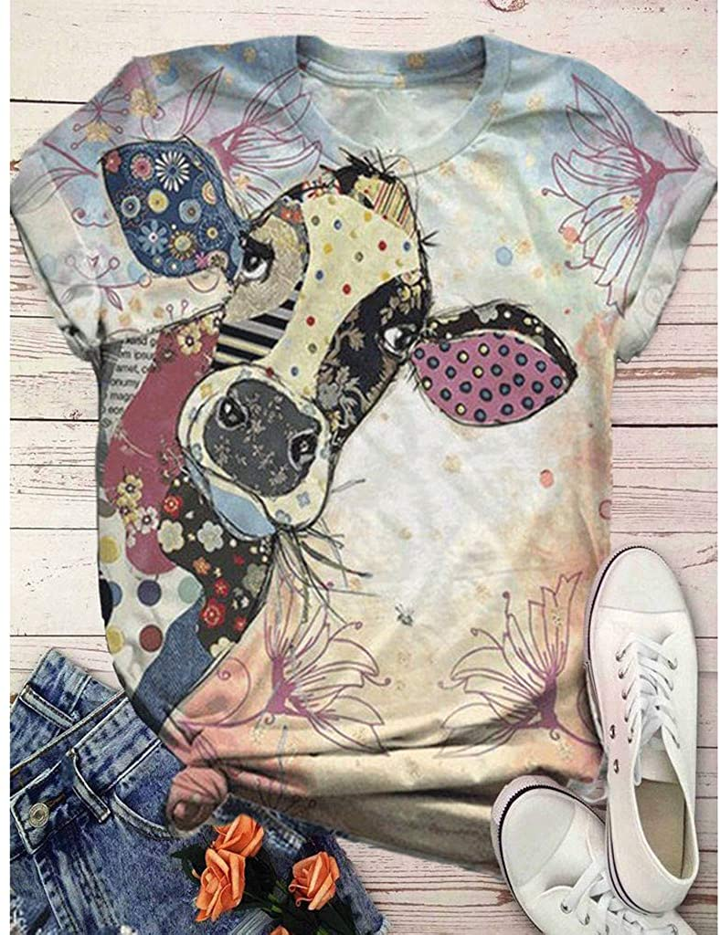 Graphic Tees for Women Summer Cute Tops Short Sleeve 3D Animal Printed O-Neck Casual T-Shirt