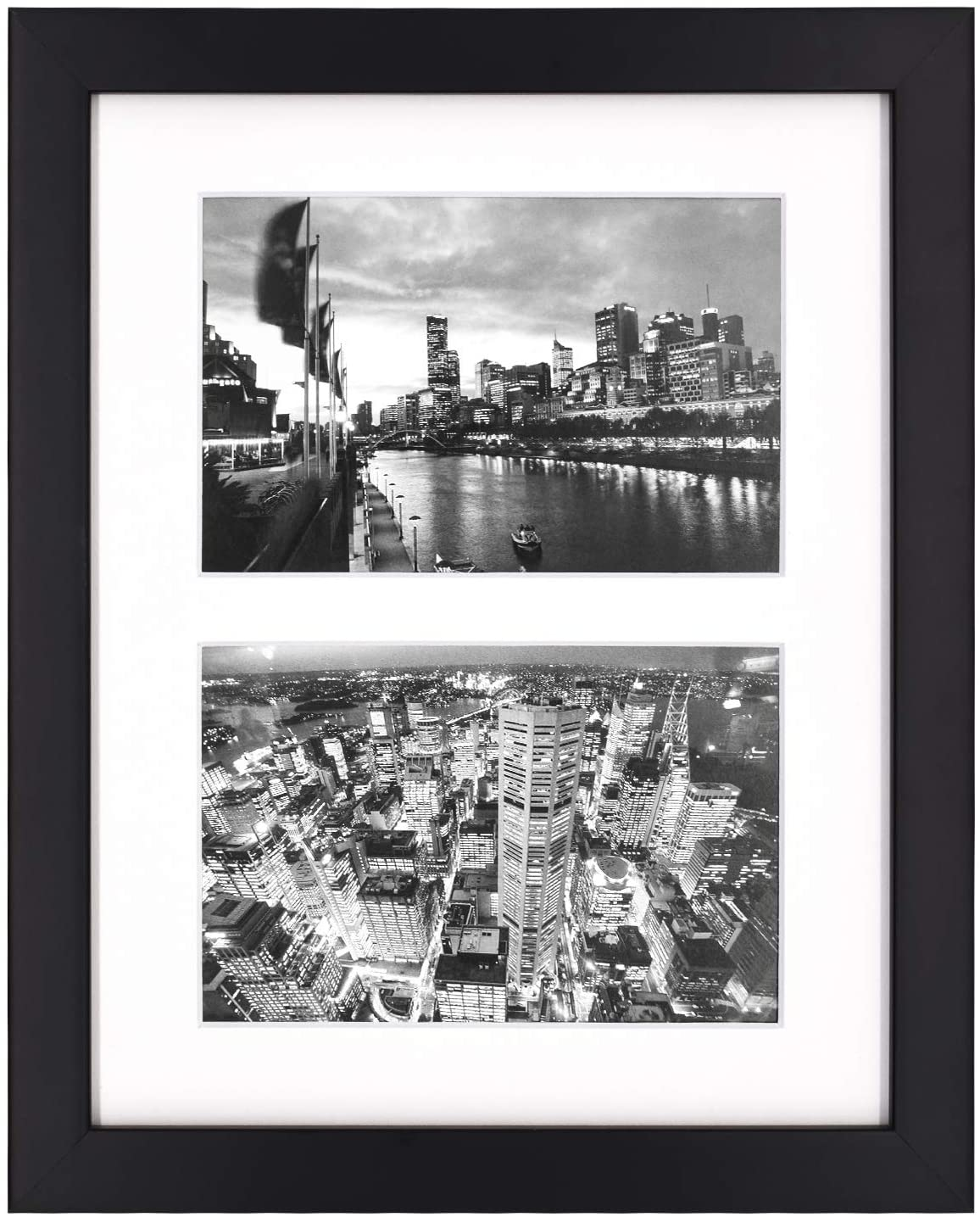 Golden State Art, 8x10 Black Photo Wood Collage Frame with Real Glass and White Mat displays (2) 4x6 Pictures