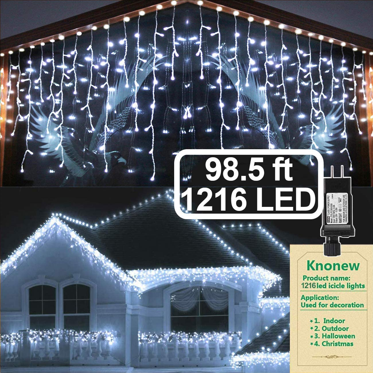 KNONEW LED Icicle Lights, 98ft 1216 LED, 8 Modes, Curtain Fairy Light Clear Wire LED String Decor for Christmas/Thanksgiving/Easter/Halloween/Party Backdrops Decorations (Cool White)