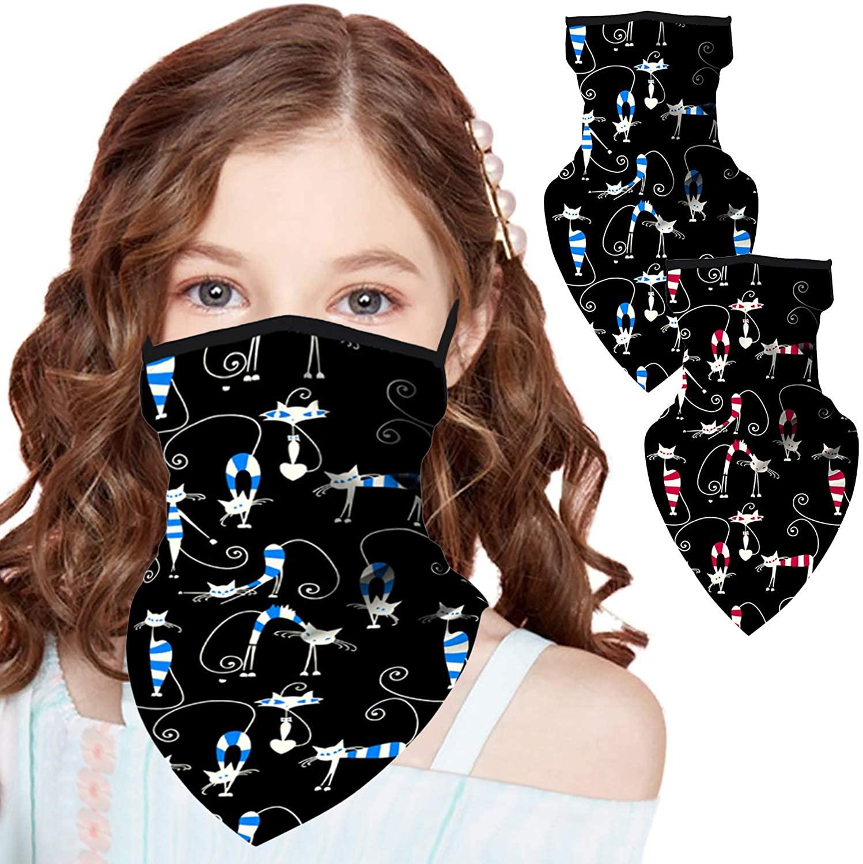 2 PCS Kids Bandana Face Mask with Ear Loops Face Cover Neck Gaiter Headband Face Scarf Bandanas for Boy Girl Headwear