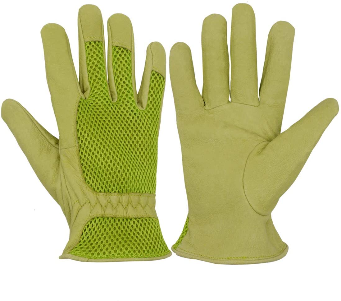 Pigskin Leather women Gardening Gloves,Stretchable Tough Working Glove,3D Mesh Comfort Fit,Comfort and Breathable Design for rose garden (Large, Green)