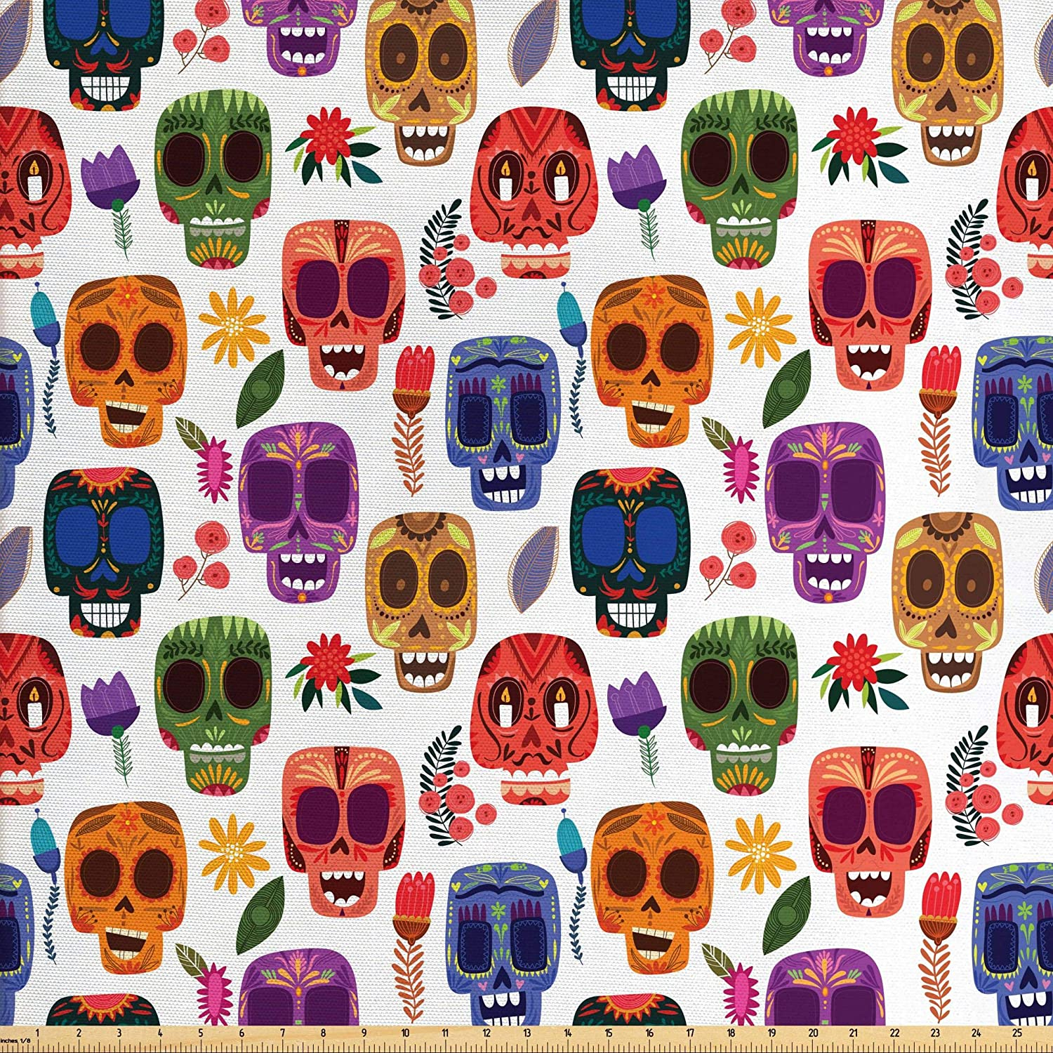 Ambesonne Day of The Dead Fabric by The Yard, Artwork Wooden Scary Cartoon Funny Details Print, Decorative Fabric for Upholstery and Home Accents, 3 Yards, Orange Coral