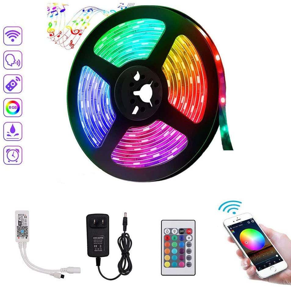 XUNATA LED Strip Lights, 16.4ft WiFi Wireless Smart Phone Controlled Non-Waterproof RGBWW Light Strip Kit 5050 LED Lights, Working with Android and iOS System, Alexa, Google Assistant
