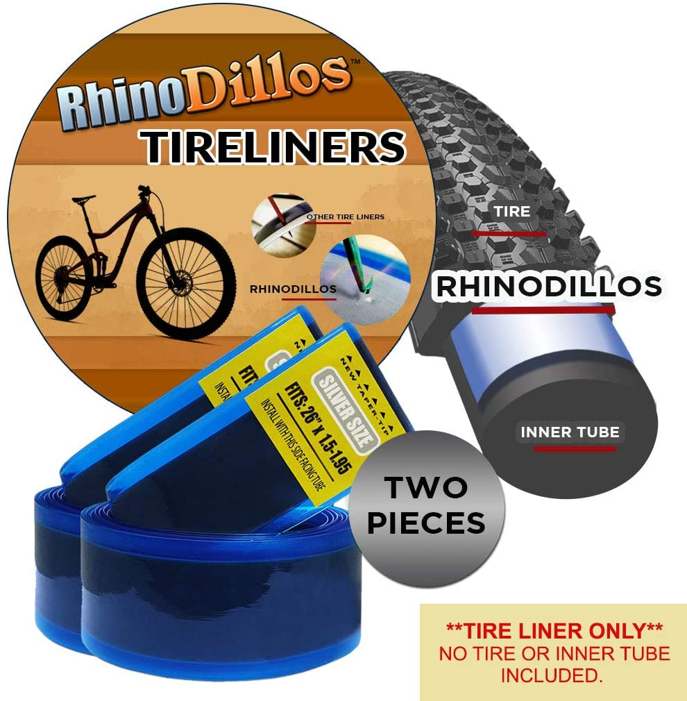 """Rhinodillos 26 inch Bicycle Tire Liner for Trail Bikes, 26"""" 1.5 – 1.9"""", no Package Silver Pair (2 Liners)"""
