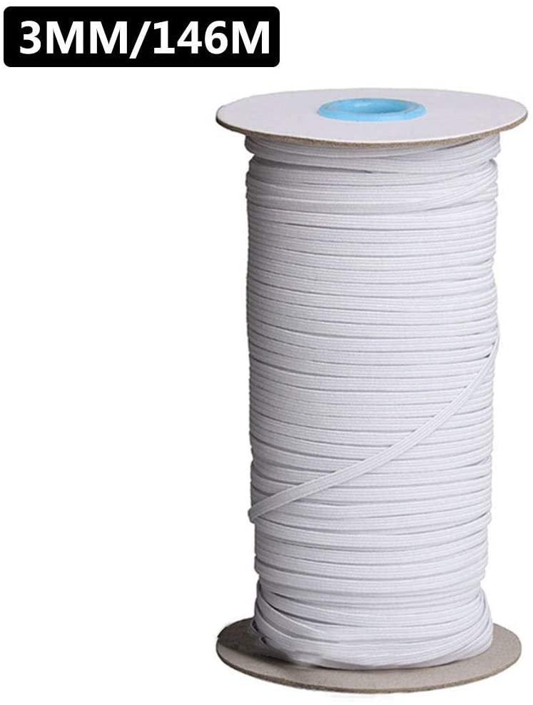 3/6MM Braided Elastic Cord/Elastic Band/Elastic Rope/Bungee/White Heavy Stretch Knit Elastic Spool (White or Black)
