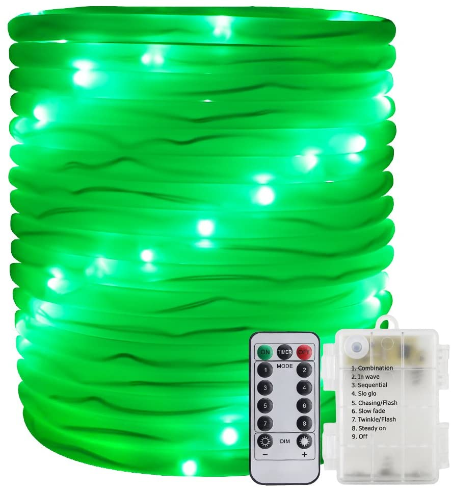 ER CHEN Remote&Timer Battery Powered Rope Lights,33FT 100 LED Warterproof Indoor&Outdoor Portable Rope String Lights for Christmas Tree, Wedding, Thanksgiving, Party, Garden, Patio(Green)