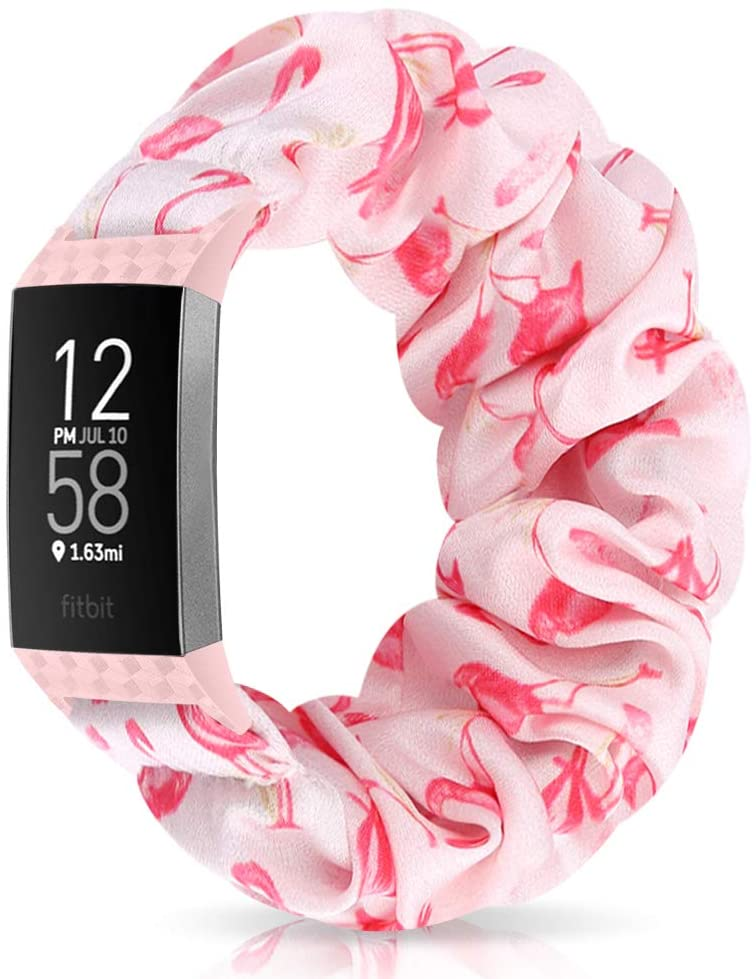 Relting Compatible with Fitbit Charge 4/Charge 3 Watch Band, Soft Scrunchie Elastic Cloth Fabric Replacement Wristband for Fitbit Charge 3 SE for Women Girls (Large, Color-F)