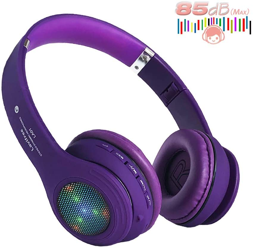 Kids Bluetooth Headphones,LED Light Up Wireless/Wired Headset,85 dB Volume Limiting Foldable Headphones,Built-in Mic,Support FM Radio/Micro SD/TF,for iPhone/Tablet/iPad/PC/Kindle/Laptop/TV(Purple)