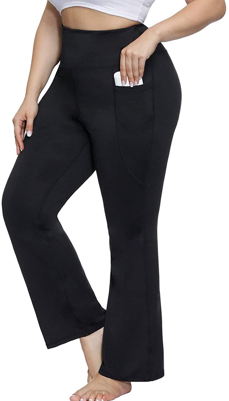 Hanna Nikole Women's Plus Size Bootcut Yoga Pants with Pockets High Waisted Workout Pants Bootleg