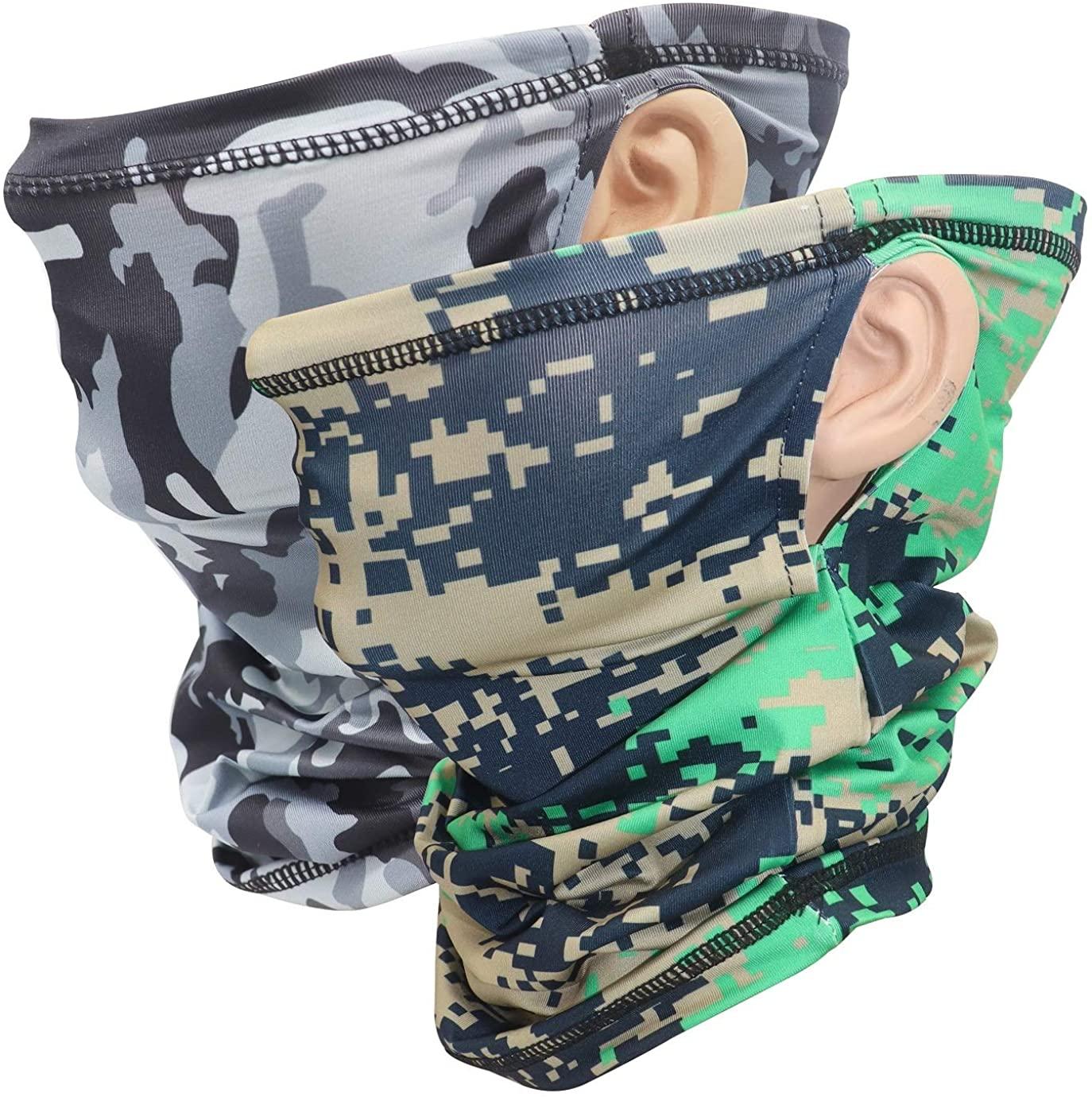 Attikee Breathable Neck Gaiter with Ear Loops, Sun UV Wind Dust Proof Face Scarf, Head wrap, Unisex Headband Balaclava
