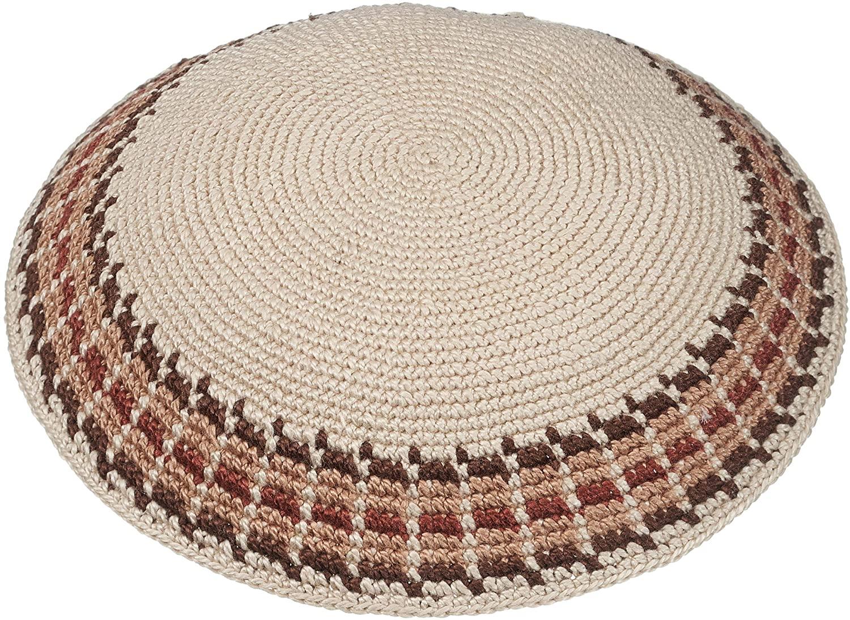 A&S Mezuzot Modern Kippah for Men Yarmulke Cap Jewish Yamaka Hat Kippot Yarmulka (Beige, Knitted)