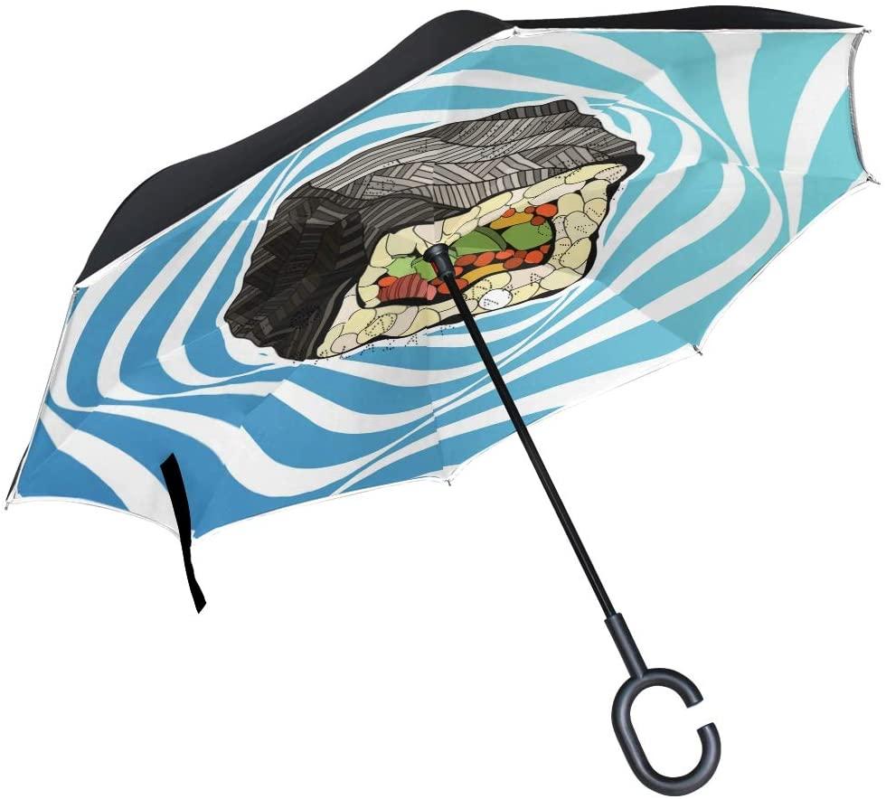 DKRetro Double Layer Japanese Sushi Inverted Umbrellas- Reverse Folding Umbrella for Car, C-Shaped Handle Umbrella with Light Reflection Strip
