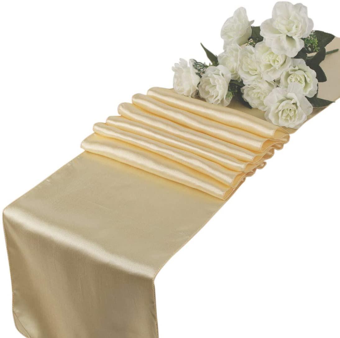 VDS - 10 PCS 12 x 108 inch Satin Table Runner for Wedding Banquet Décor Runners Charmeuse Silk Table Runner - Cream