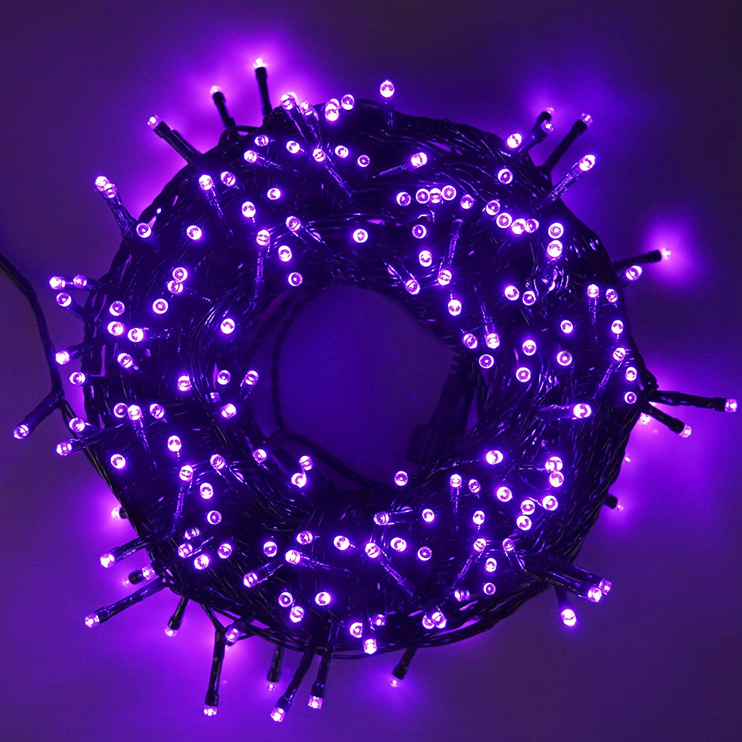 LJLNION 300 LED Indoor Fairy Halloween String Lights, 98.5FT 8 Lighting Modes Light, Plug in String Waterproof Mini Lights for Outdoor Holiday Christmas Wedding Party Bedroom Decorations (Purple)