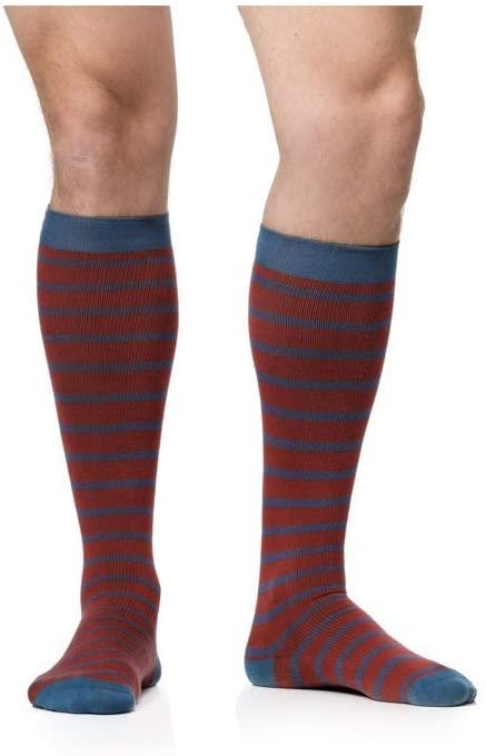 VIM & VIGR Men's 15-20 mmHg Compression Socks: Simple Stripe - Brick, Blue, Dark Teal (Cotton) (Small)