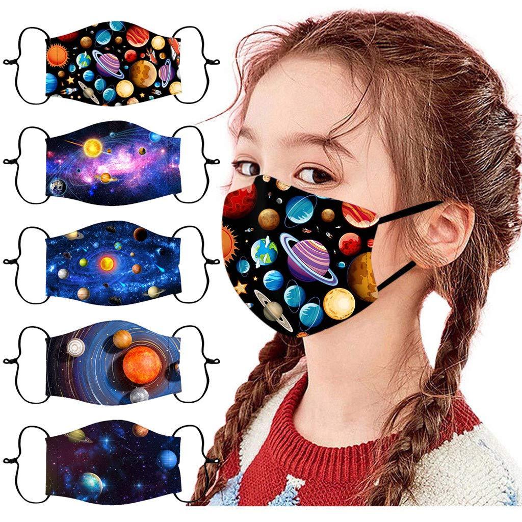 Walsent 5PCS Kids 3D Space Planet Print Washable Reusable Protective Mouth Cloth Face Bandanas Childrens Outdoor School Supplies