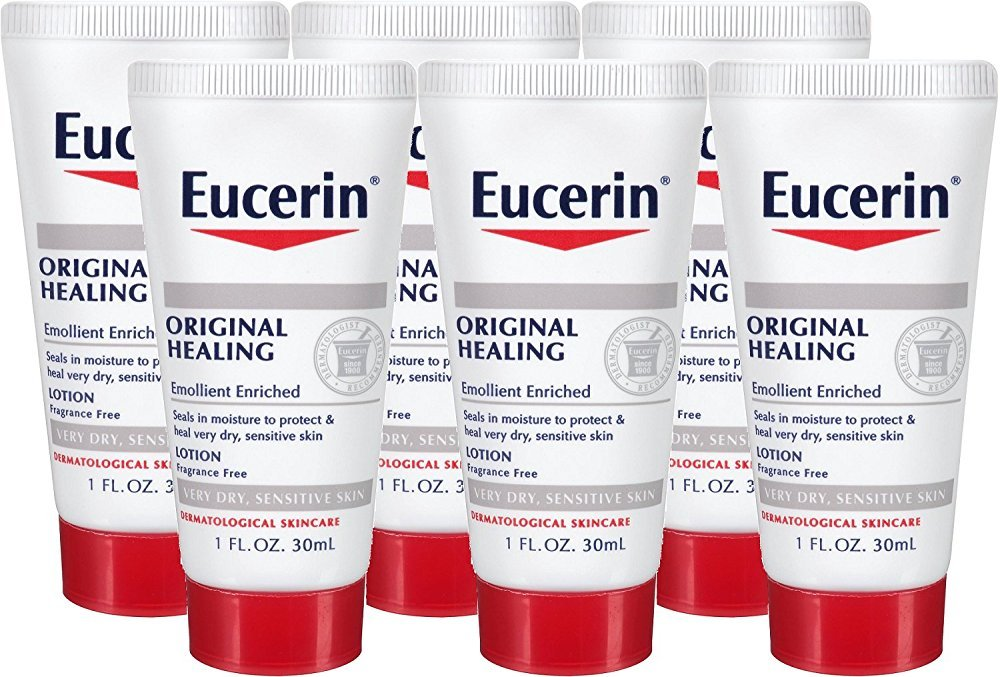 Eucerin Original Healing Soothing Repair Rich Lotion Fragrance Free Dry Skin 1 Oz Travel Size (Pack of 6)