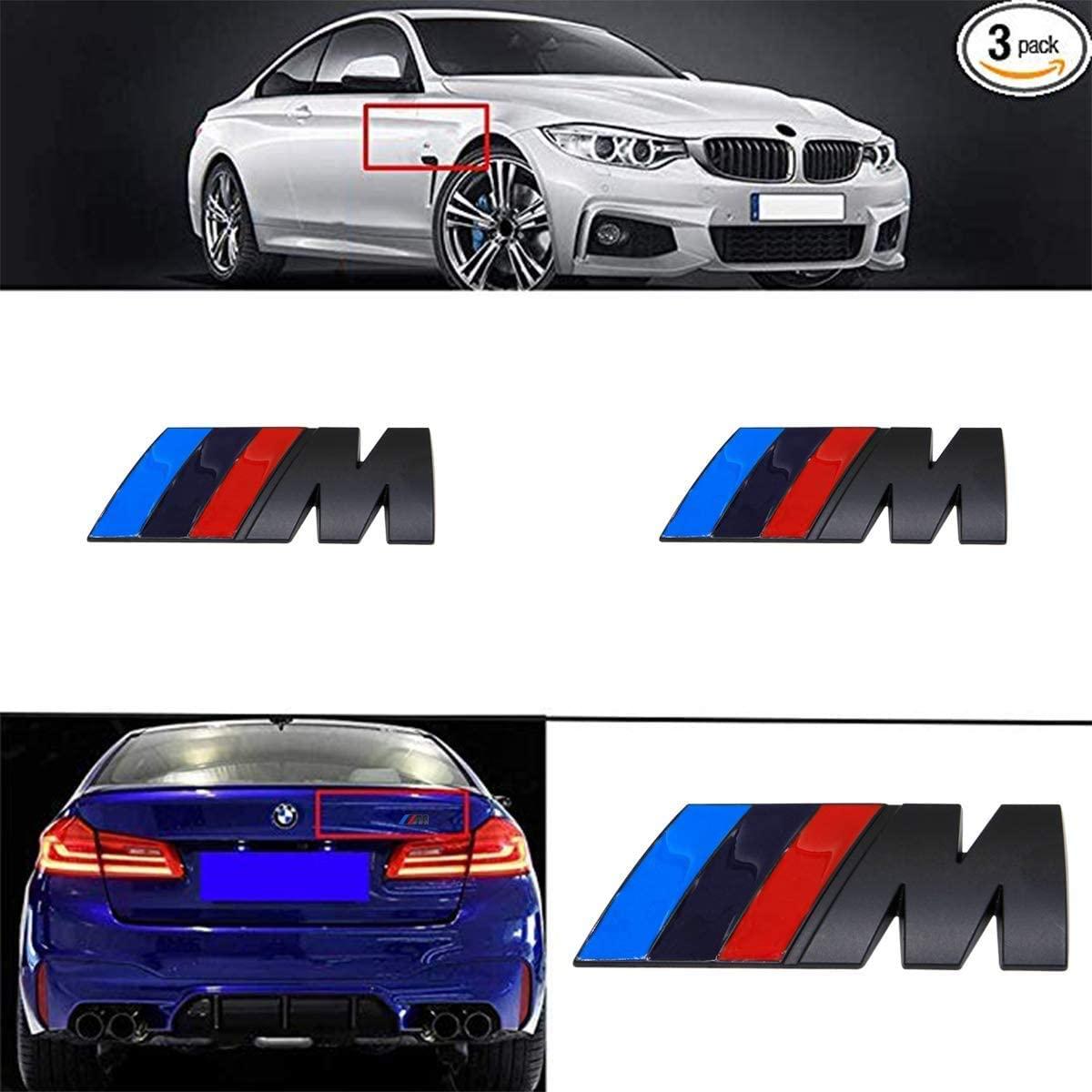 Westion 3pcs BMW M Power Badge Tri Color Rear Emblem Fender Side Emblem Car Decal Logo Sticker for All BMW Accessories (black)
