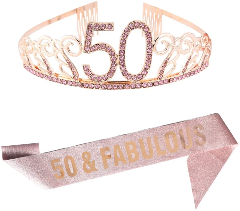 50th Pink Birthday Tiara and Sash Glitter Satin Sash and Crystal Rhinestone Tiara Crown for Happy 50th Birthday Party Supplies Favors Decorations 50th Birthday Party Accessories