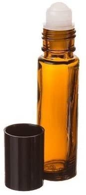 10ml Aromatherapy Amber Glass Roll On Bottle for Essential Oils with Black Cap (864)