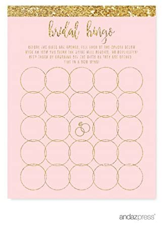 Andaz Press Blush Pink Gold Glitter Print Wedding Collection, Bridal Shower Bingo Game Cards, 20-Pack