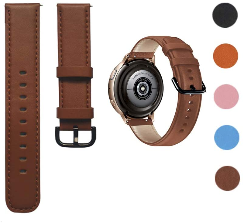 Minggo Leather Band Compatible with Samsung Galaxy Watch Active/Active2 40mm/44mm, Genuine Leather Quick Release 20mm Watch Strap Compatible for Samsung Galaxy Watch 42mm Smart Watch (Brown)