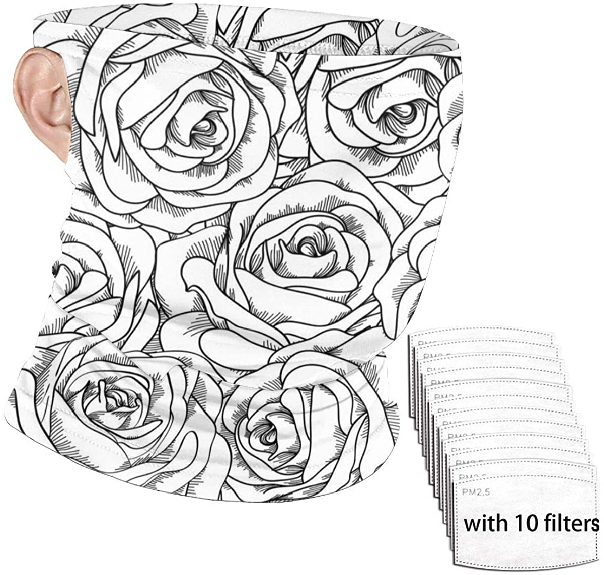 Black White Rose Seamless Bandana Face Mask Scarf Ear Loops with 10 Filters, Anti-Dust Neck Gaiter Headband Windproof Headwear Balaclava for Fishing Shopping