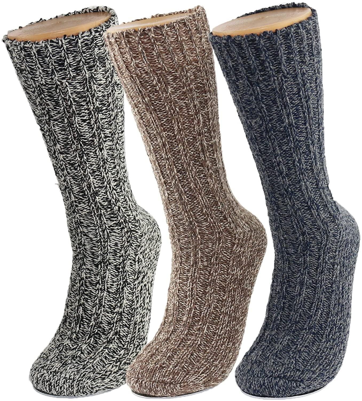 GLENMEARL 3 Pack Womens & Mens Merino Wool Hiking Socks Winter Thick Warm Boot Crew Socks for Men & Women