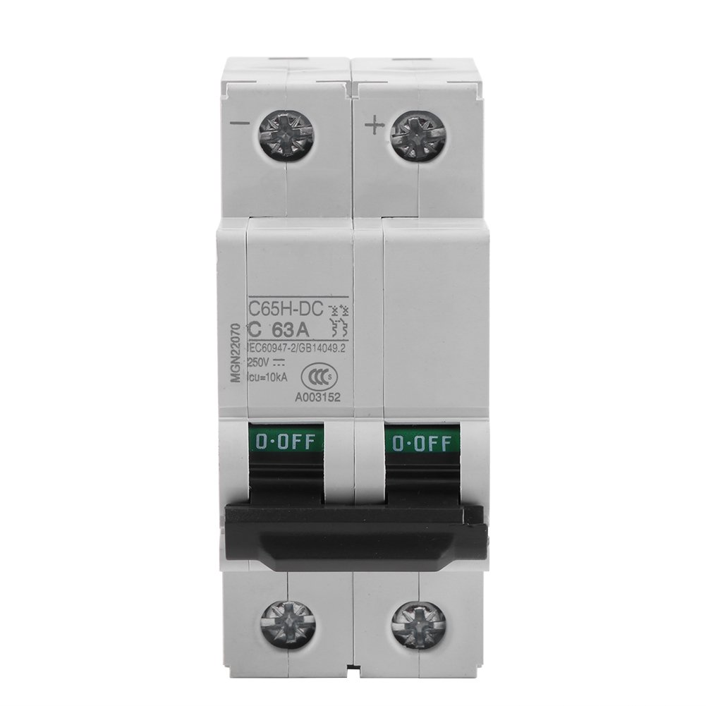 Miniature Circuit Breaker, 1pc 250V DC 2P Low-Voltage Miniature Air Circuit Breaker Solar Energy Switch 16A/32A/63A for Solar Panel Grid System, Wind and Solar Hybrid System (63A)