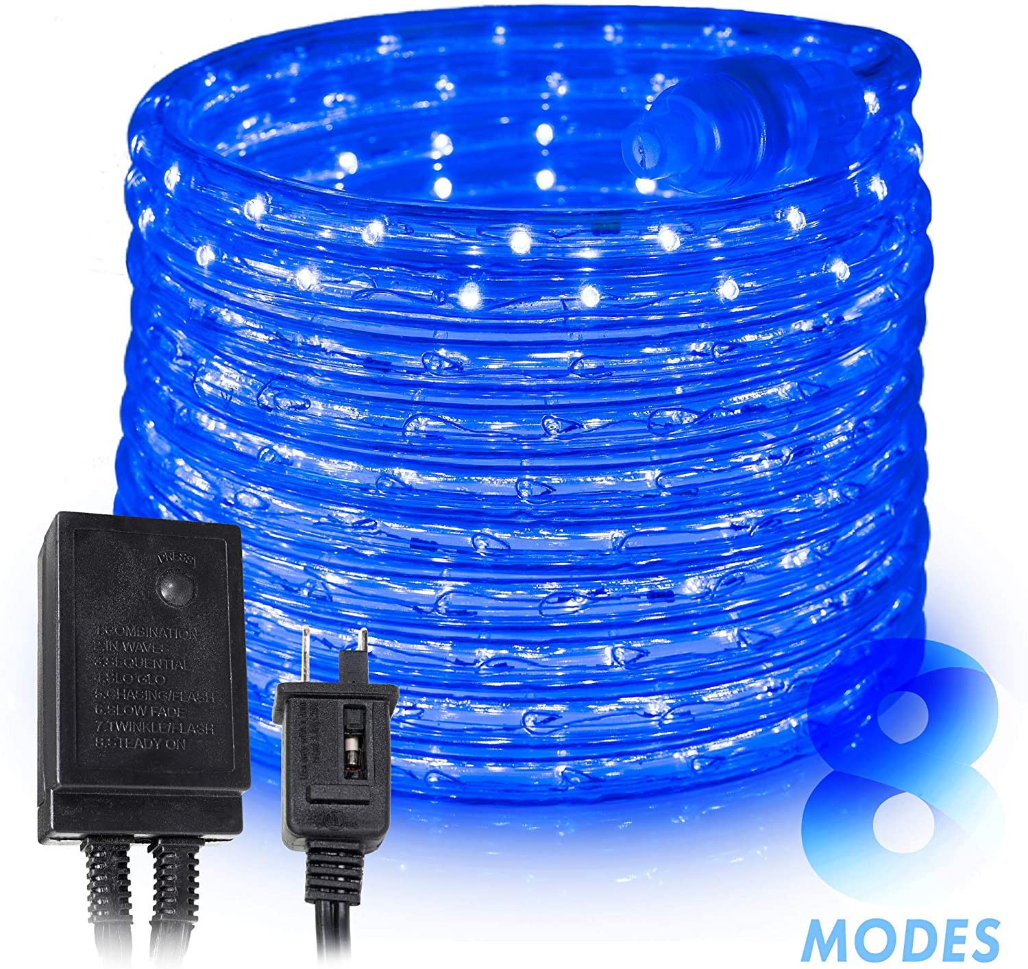 West Ivory 10', 25', 60', 150' ft (10' feet) Blue LED Rope Lights w/ 8 Mode Controller 2 Wire Accent Holiday Christmas Party Decoration Lighting | UL Certified