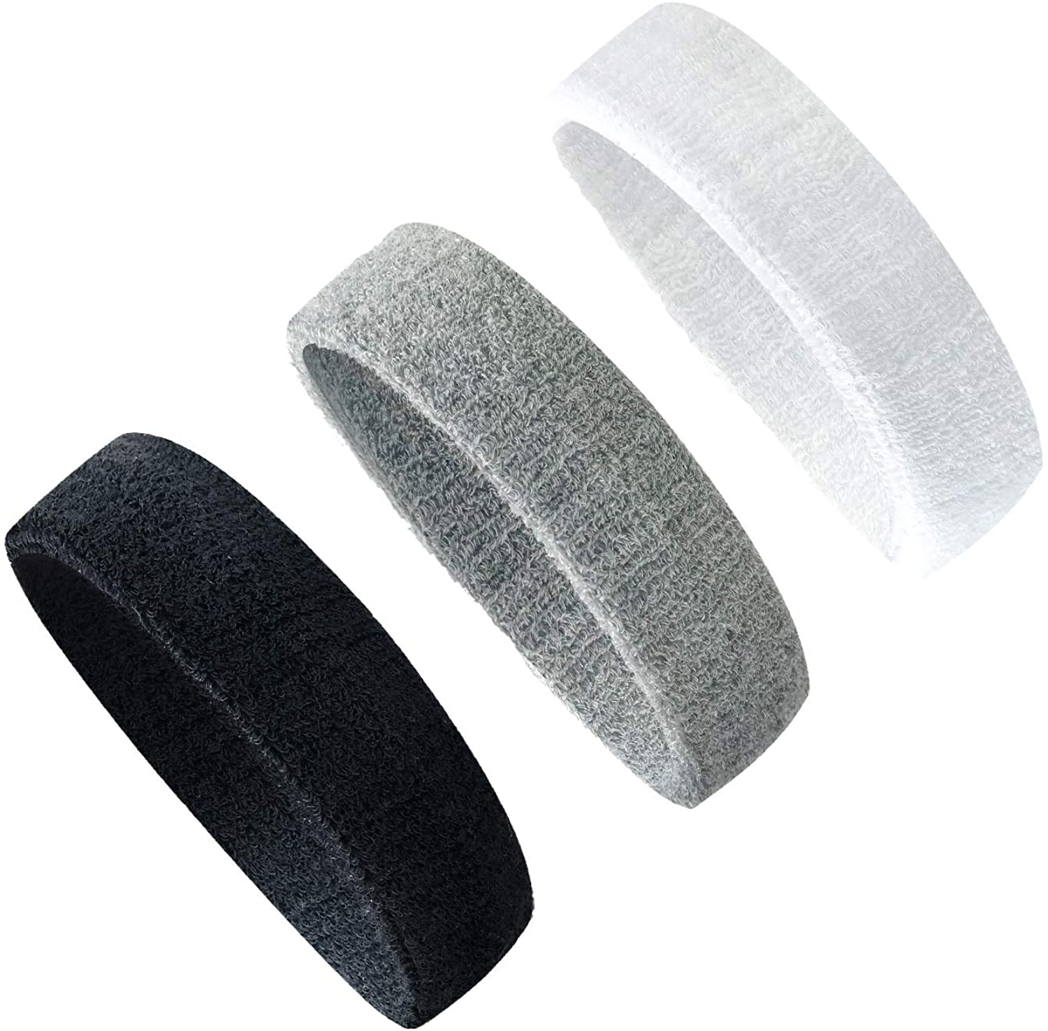 LERTREE 3PCS Men Women Sweatband Headband for Yoga Basketball Gym Sport Working Out Stretchy Head Hair Band
