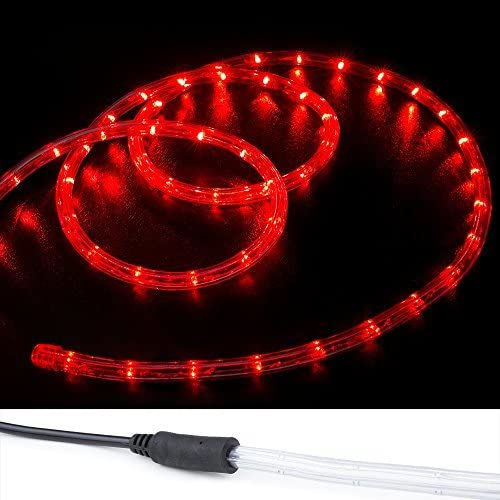 WYZworks 150' Red LED Rope Lights w/(Pre-Attached Power Cable) - Flexible 2 Wire Accent Christmas Party Decoration Lighting…