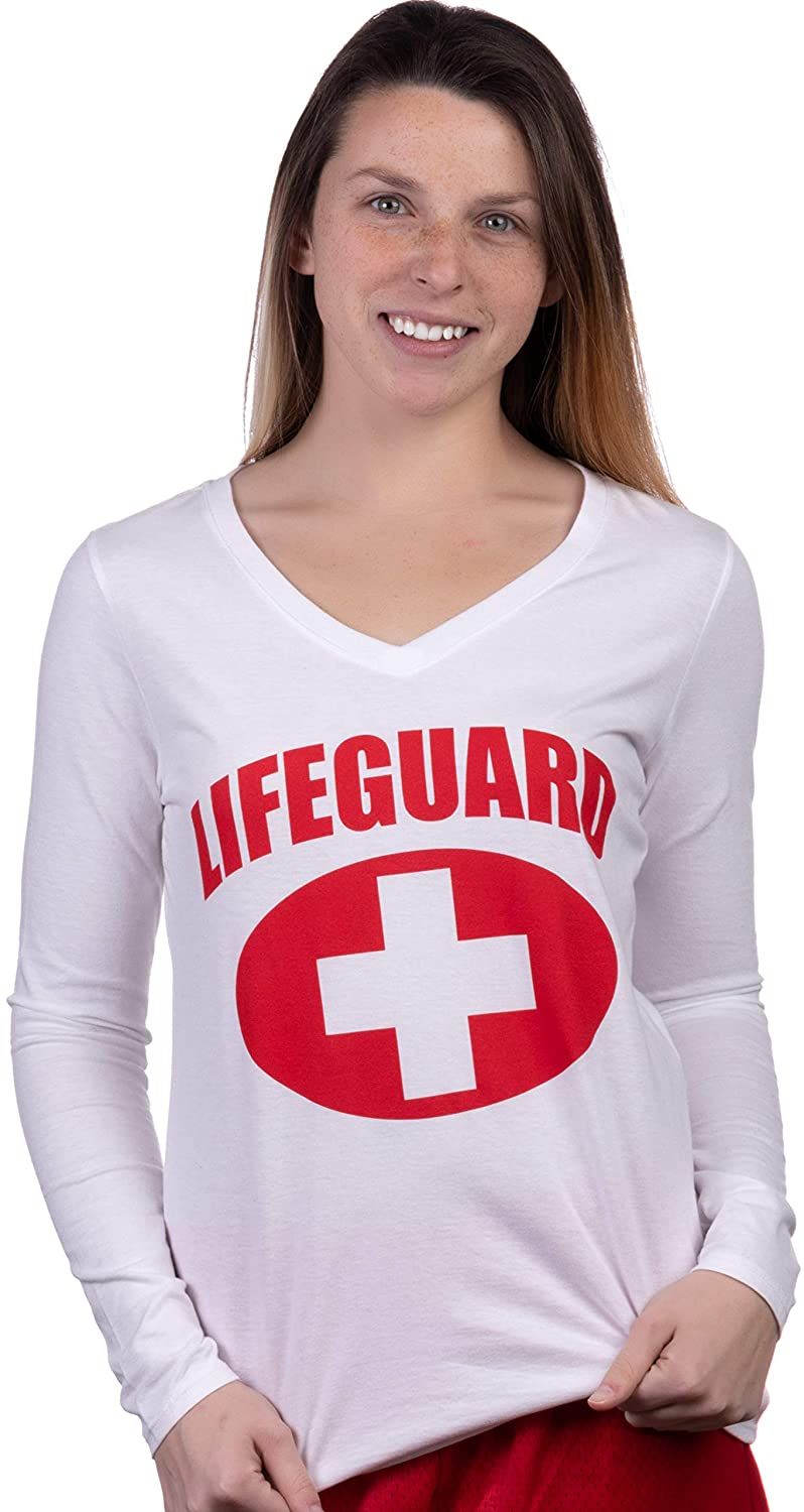 Lifeguard | Women's White Lifeguarding Uniform Cute Girly Long Sleeve V-Neck T-Shirt Top