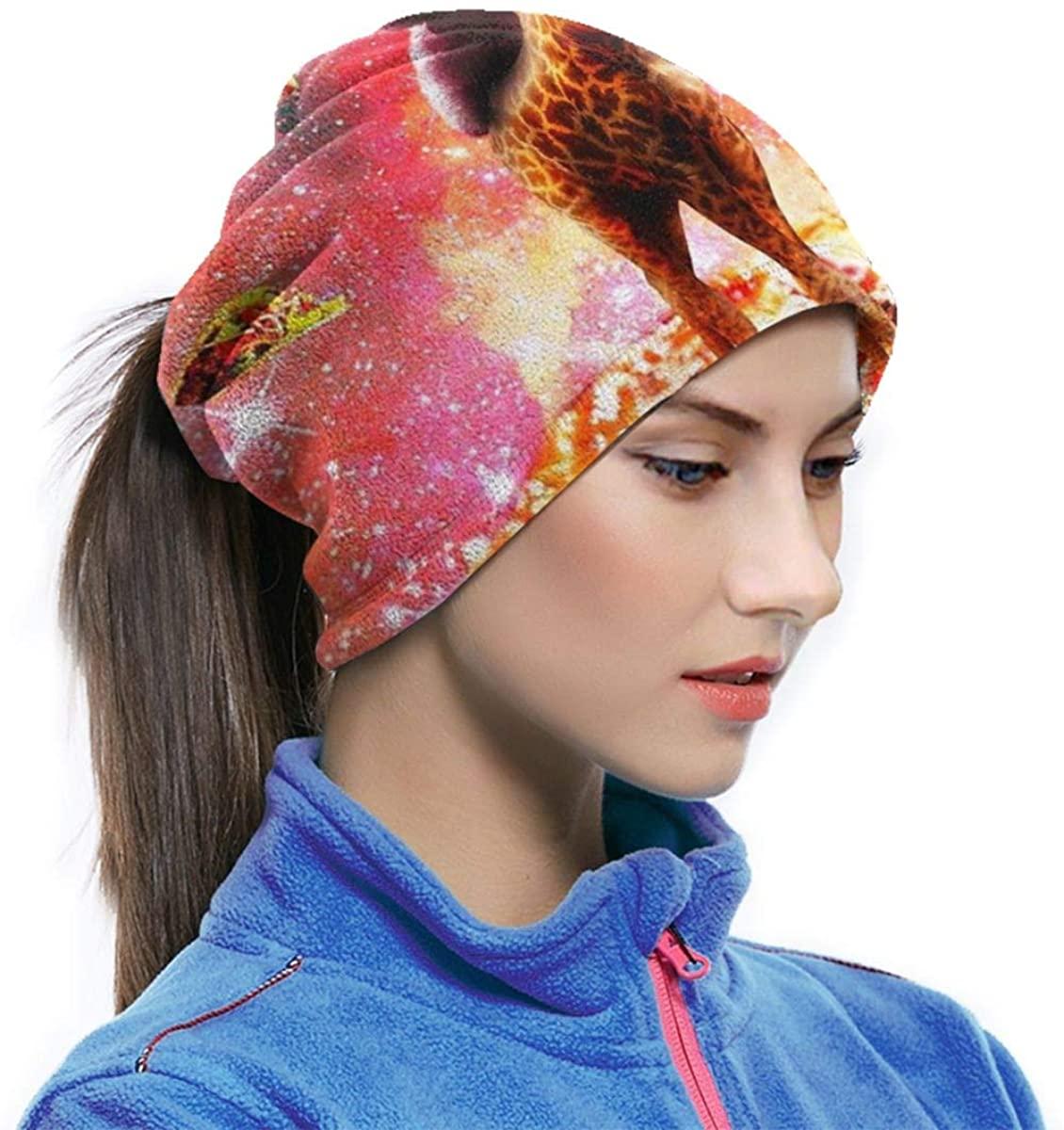 Space Sloth Riding Giraffe Unicorn Pizza Taco Unisex Neck Warmer Gaiter Balaclava Ski Mask Cold Weather Face Mask Winter Hats Headwear For Men Women