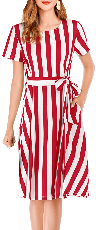 Dauveg Womens Striped Belt Dress Casual Summer Short Sleeve Midi Dresses with Pockets