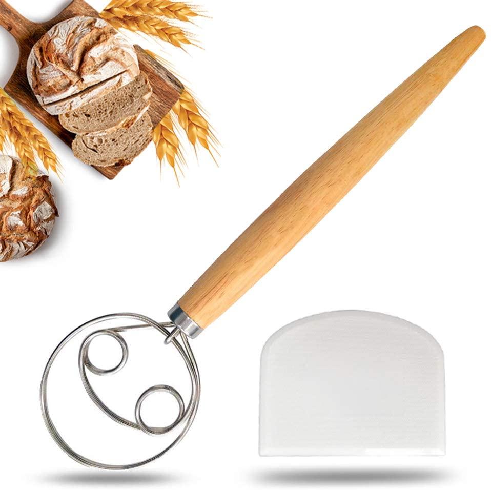 JMM Danish Dough Whisk Large for Bread Making, Stainless Steel Kitchenaid Hand Mixer Blender Dough Scraper for Baking Cake Dessert Sour dough Pizza Pastry