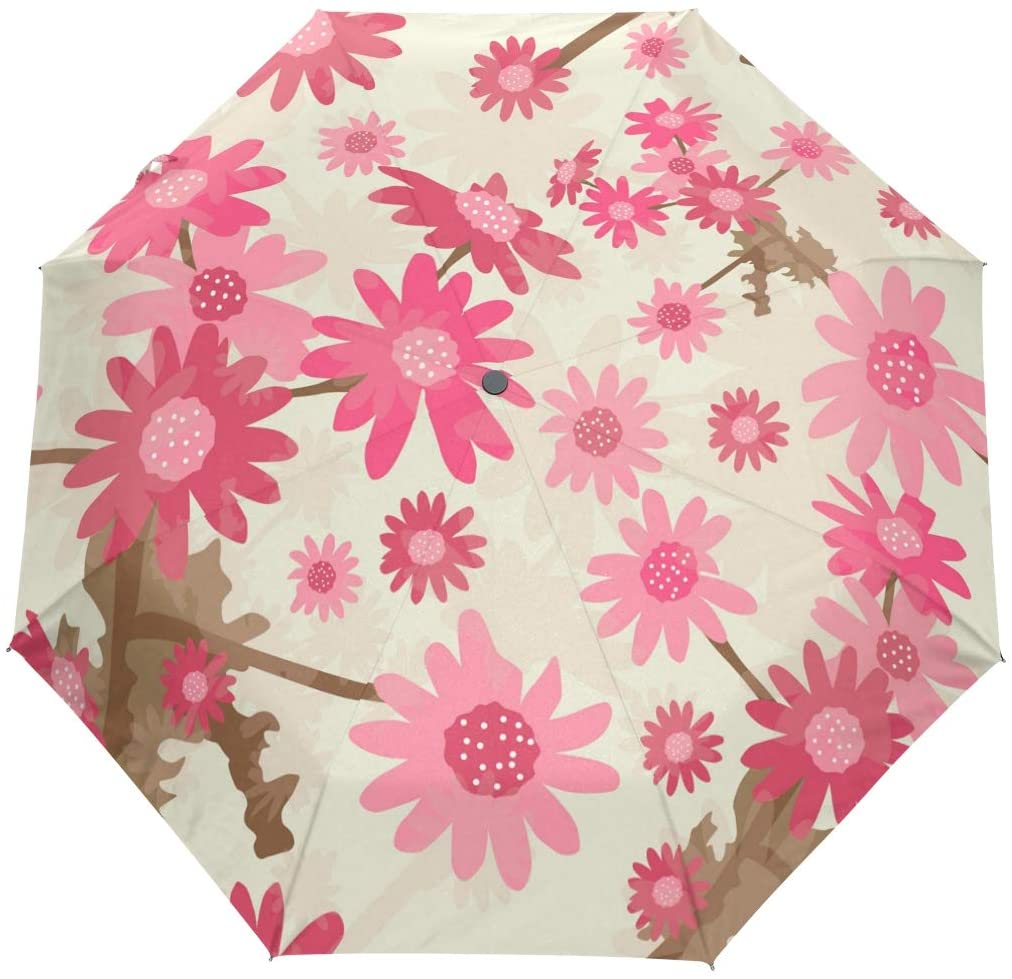 Travel Umbrella, Pink Beautiful Flower Auto Open Umbrella Compact Folding Sun Rain Protection, Windproof for Kids Women Men