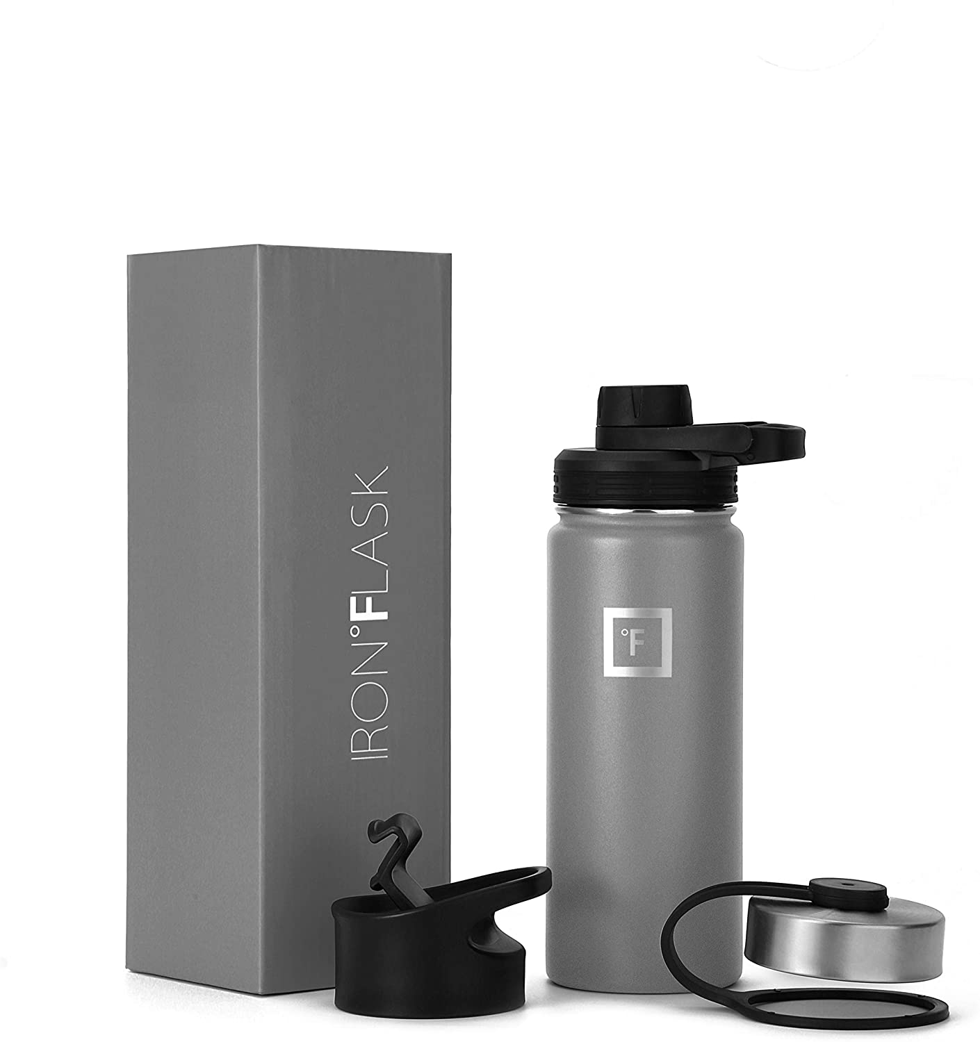 IRON °FLASK Sports Water Bottle - 18 Oz, 3 Lids (Spout Lid), Vacuum Insulated Stainless Steel, Hot Cold, Modern Double Walled, Simple Thermo Mug, Hydro Metal Canteen (Graphite)