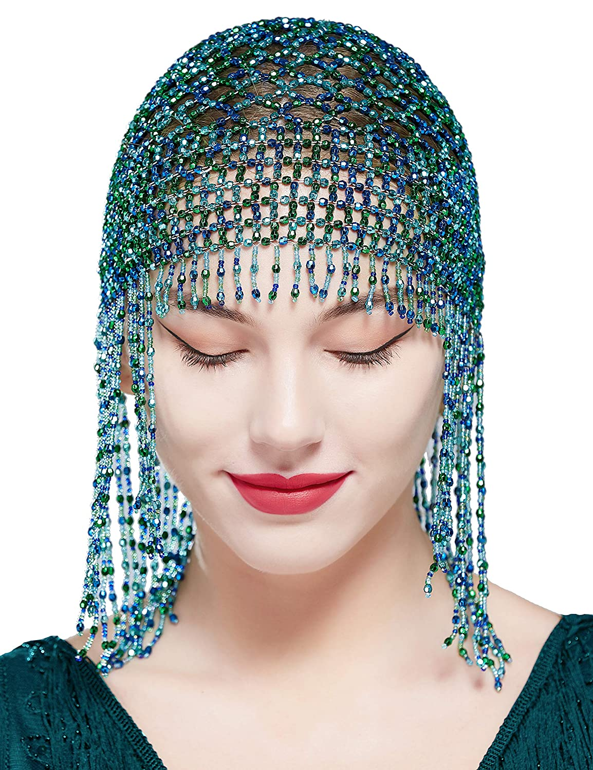 BABEYOND 1920s Beaded Cap Headpiece Roaring 20s Beaded Flapper Headpiece Belly Dance Cap Exotic Cleopatra Headpiece for Gatsby Themed Party (Blue and Green)