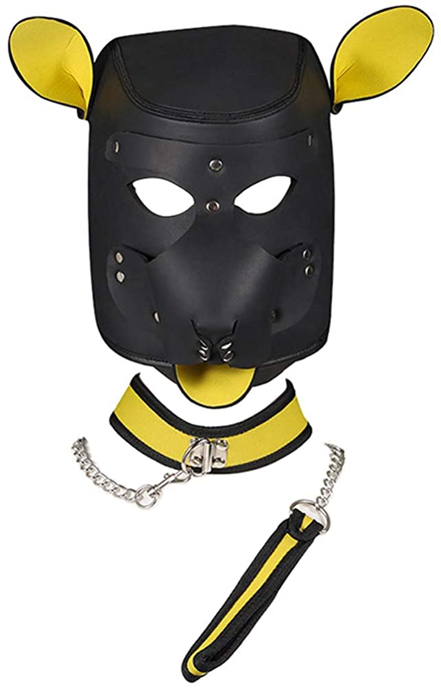 FeiGu Unisex Costume Dog Play Mask with Collar, Full Face Puppy Hood Cosplay Mask Dog Collar and Leash Set
