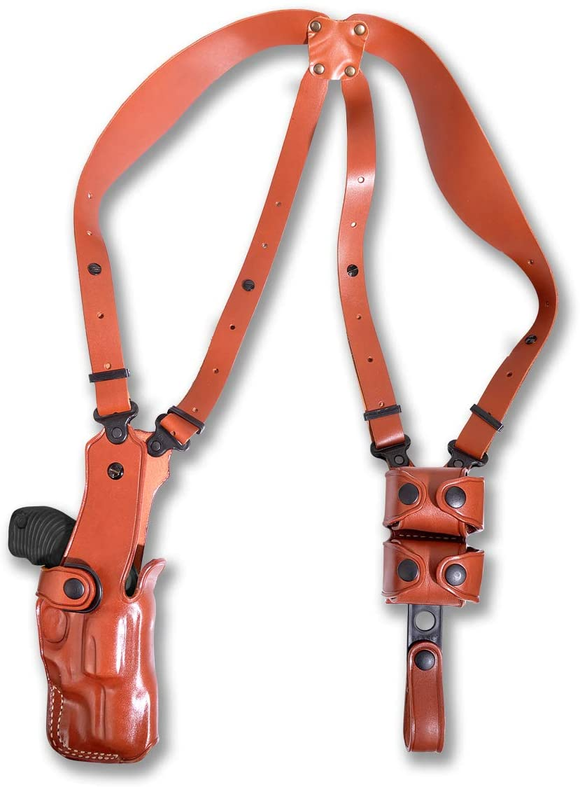 MASC Premium Leather Vertical Shoulder Holster System with Double Speed Loader, for Smith Wesson J-Frame 2