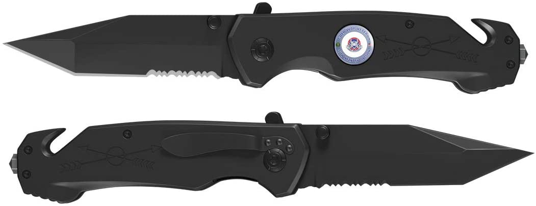 U.S. Army Cold War 47th Infantry Unit Crest Veteran 3 in 1 Tactical Pocket Knife with Glass Breaker, Seatbelt Cutter and Steel Serrated Blade