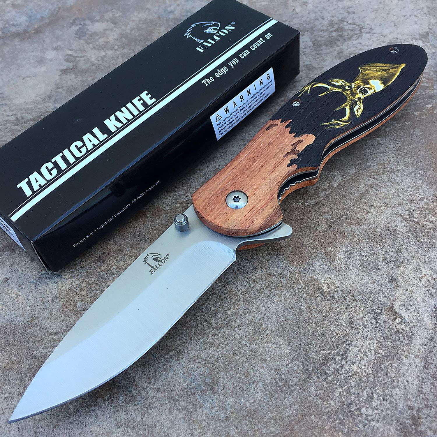 Falcon Knife KS4554- Stainless Steel w/Wood Engraved Handle. Perfect EDC Knife for Outdoor Camping and Everyday Gifts.