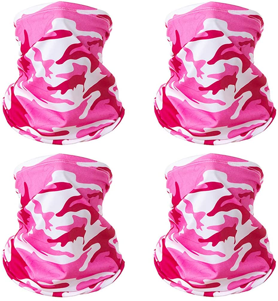4 Pack Neck Gaiter Balaclava Bandana Headband, Ice Silk Cooling Face Scarf Dustproof Sunscreen UV Protection, Windproof