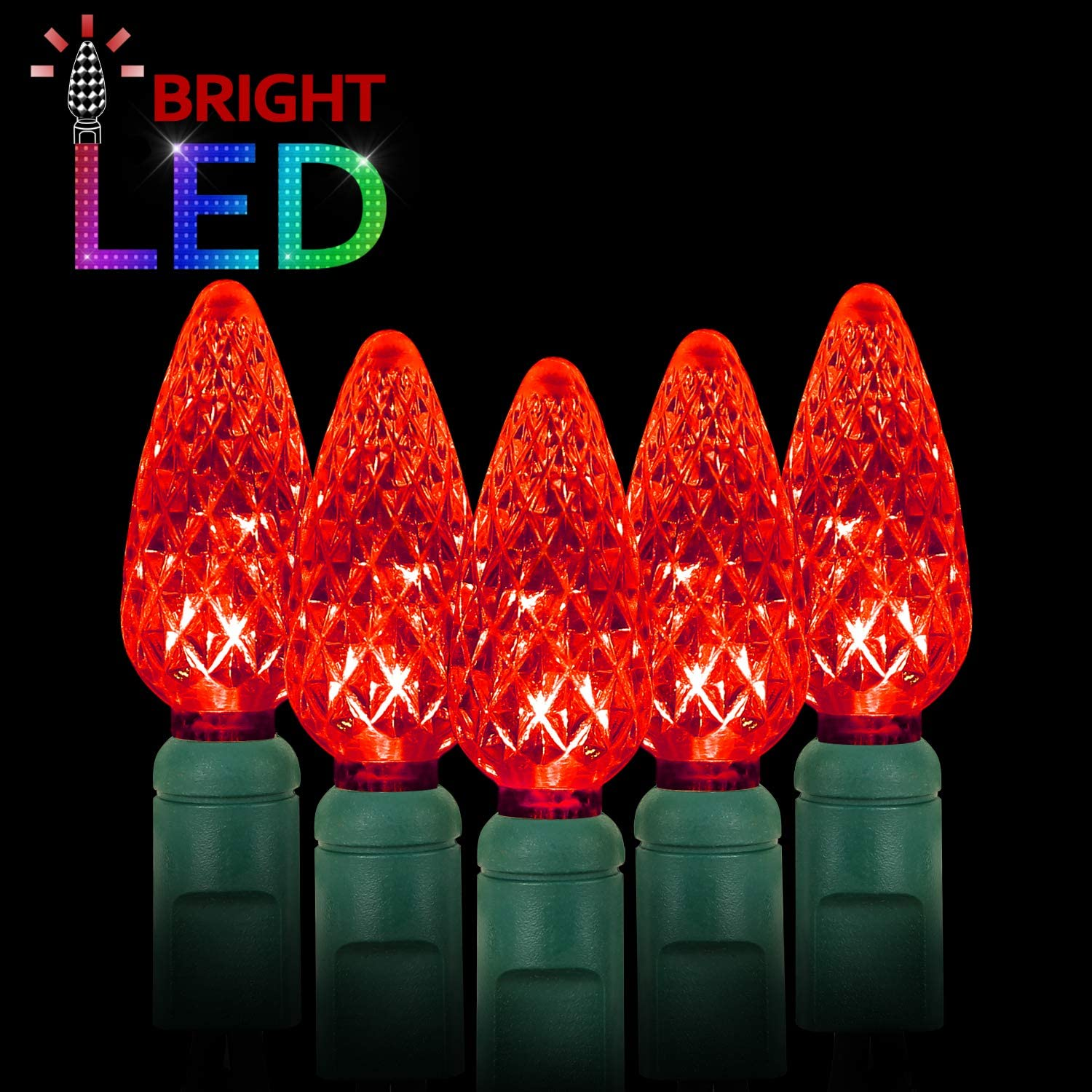 LED Christmas Lights 70 Counts C6, for Outdoor and Indoor, Red Light, Green Wire, 6in Spacing, 35.5ft, UL Listed