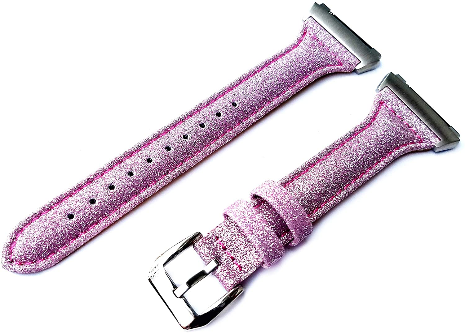 Pink Sparkling Glitter Band Compatible with Fitbit Ionic Smart Watch Slim Elegant Soft Leather Strap Bracelet with Quick Release Adapters (4. Rose Gold Color Buckle Adapters)